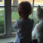 Toddler And Pet Dog Adorably Mesmerised By Duck In Garden