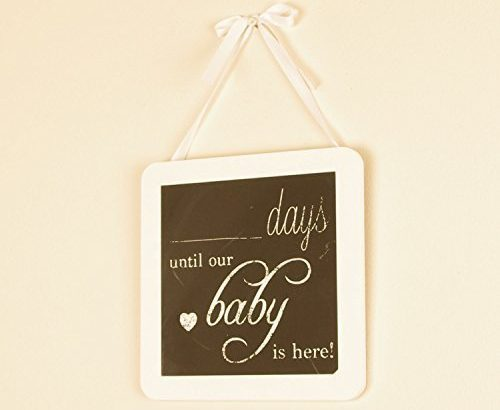 Baby Countdown Chalk Board Wall Hanging – An Ideal Gift For The Mum And Dad To Be – 20cm x 20cm x 1cm