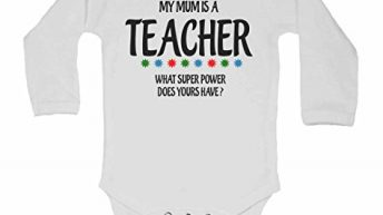 My Mum is A Teacher, What Super Power Does Yours Have? – New Personalised Long Sleeve Baby Vests Bodysuits Baby Grows for – Boys, Girls – White – 3 – 6 Months