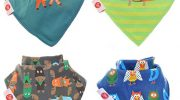 Zippy Fun Baby and Toddler Bandana Bib – Absorbent 100% Cotton Front Dribble Bibs with Adjustable Straps (4 Pack Gift Set) Boys Woodland Animals