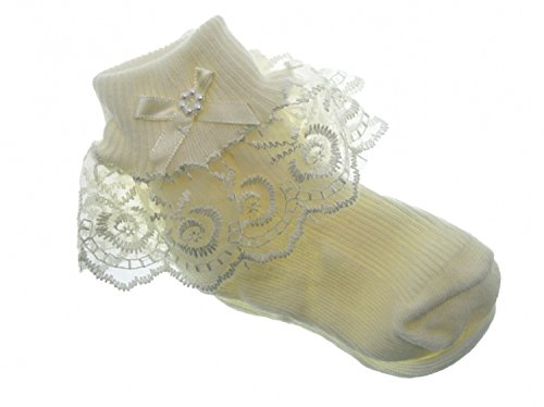 Baby Girls Frilly Lace Socks Christening Party Newborn -11 years White or Ivory Cream (UK 0-2.5 = 6-12 months, Ivory)