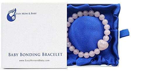 Rose Quartz Baby Bonding Bracelet by Easy Mom and Baby | Nursing Bracelet for Breastfeeding | Perfect Unique Baby Shower Gift (8mm beads in presentation box)
