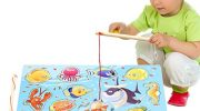 Millya Magnetic Wooden Toys Fishing Game Toy Set with Fishing Pole