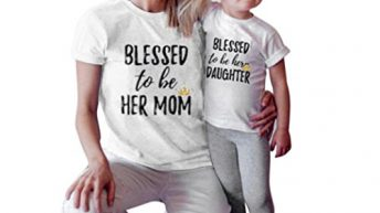 """Kolylong Mommy and Me Kids shirt """"Blessed to be her daughter"""" Letter Print T shirt family Outfits (7Y, Kids)"""
