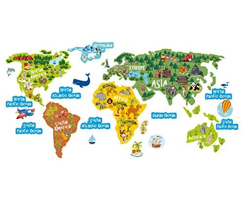 MAP of the WORLD – LARGE – Wall sticker – Wall Art For Children – Kids Room, Bedroom, Kitchen, Office, Playroom – High Quality Vinyl Hand Printed