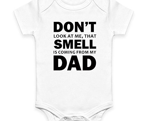 Coco Rascal DTG Don't Look At Me That Smell Is Coming From My Dad Baby Boy Girl Unisex Short Sleeve Bodysuit (0-3 Months)
