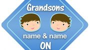 Grandsons On Board Car Sign New Baby / Child Gift / Present