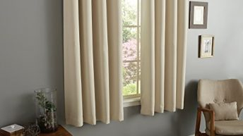 RAYYAN LINEN THERMAL WOVEN RING TOP EYELET BLACKOUT CURTAINS [CREAM NATURAL 46″ x 54″] READY MADE INCLUDING TIE BACKS