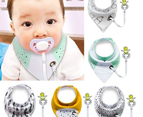 Baby Bibs with Pacifier Clip,IBanana 5 Pack of Dribble Bibs Stylish Prints Absorbent Cotton Baby Bandana Drool Bibs With Adjustable Snaps and Pacifier Clip(Boy)