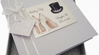 White Cotton Cards Daughter and Son-in-Law Wedding Day Medium Album (Top Hat/Shoes)