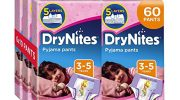 Huggies DryNites Pyjama Pants for Girls, Age 3-5 – 60 Pants Total