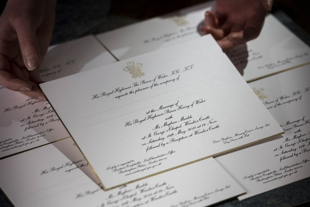 Invitations for Prince Harry and Meghan Markle's wedding in May, after they have been printed at the workshop of Barnard and Westwood in London (Victoria Jones/PA)