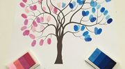 Personalised Baby Shower Christening Baptism Fingerprint Tree Guestbook Gift 1 (A4, Prediction – Pink & Blue)