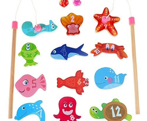 BESTOYARD Fishing Toy Fishing Game – 12 Different Wooden Fishes with Words, 2 Magnetic Rods and 2 Dices, Perfect Educational Game for Christmas Gifts New Year Gifts