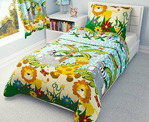 Children's Bedding set- Boys Duvet Cover and Pillowcase Cot/ Cot bed/ Toddler – JUNGLE BLUE (120×150 cm)