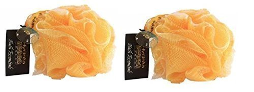 Hydrea Large Exfoliating Body Puff / Scrunchie /Buffer – Bath & Shower Twin Pack (Yellow)