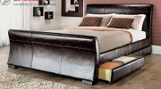 Limitless Home 4ft6 Double size leather sleigh bed with storage 4X drawers Brown