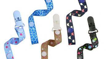 Philonext 5 Pack Colorful Pacifier Clips, New Stylish Design Superior Quality Universal Safe Pacifier Teething Toys Holder for Boys and Girls, Baby Shower Gifts (Boys)