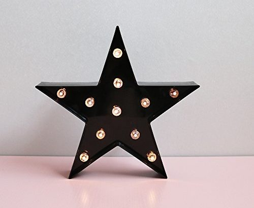 New Style Black Star LED Night Light, Indoor Decorative Marquee Sign, Battery Power Table Lamps for Baby Kids Children Bedroom, Mood Light-Black