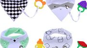 Fascigirl Baby Drool Bib, 4Pcs Baby Bandana Drool Double-layer Cotton Bibs with 4Pcs Teething Toys Gift Set and 4Pcs Pacifier Holder for Boys and Girls