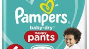 Pampers Baby-Dry 58 Nappy Pants, Easy-On with Air Channels for Up to 12 Hours of Breathable Dryness, Size 6, 15+ kg