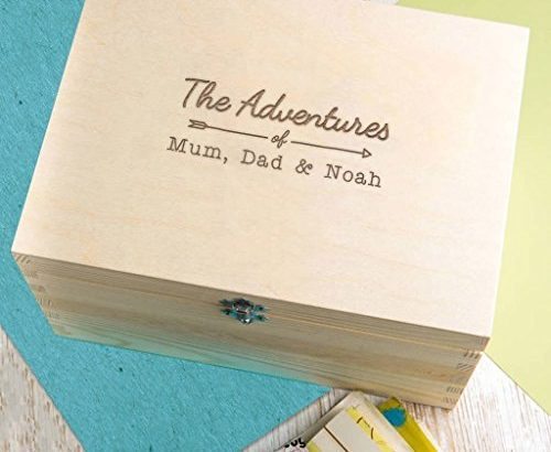 Personalised Mummy and Daddy Wooden Adventure Box – Gifts for Mummy and Daddy from Son and Daughter