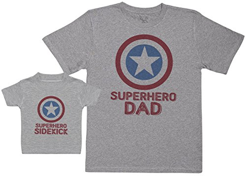 Superhero Sidekick – Baby Gift Set with Baby T-Shirt & Father's T-Shirt – Grey – L & 0-3M