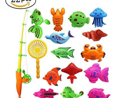 Fishing Bath Game Toys Magnetic Fishing Toys with 1 Fishing Rod and Net Includes 22 Floating Fish Toy Set in Bathtub Bathroom Pool Bath Time for Kids
