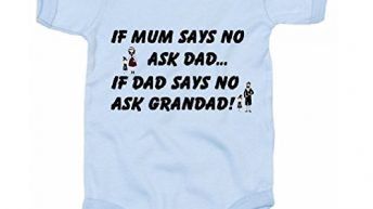 The Baby Onesie Co If Mum says No Ask Dad Funny Infant Bodysuit (Blue, 3-6 Months)