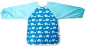 AnaBaby Premium Soft Long Sleeve Water Resistant Washable Baby Toddler Bib with Reversible Pocket, Perfect for Feeding and Messy Play (Blue Elephant)