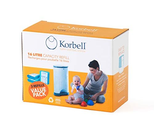Korbell Nappy Disposal Bin Liners – Standard (16 Litre) – 3 Refills Value Pack