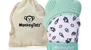 MonkeyTots® Teething Mitten for Babies | Premium Design | Comforting Teething Toy | Quality Teething Mitt | Free Travel Bag with Every Teether Glove (Misty Jade)
