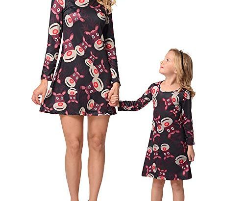 Hellomiko Printed Long-Sleeved Dress Family Matching Autumn and Winter Parent-Child Dress Mother Daughter DressBlack adult2XL