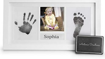 Baby Handprint Kit & Footprint Photo Frame for Newborns Baby Shower Christening Large Ink Pad, 2 Mounts, Baby Name Section with 2 Name Cards. A Beautiful Keepsake for Wall & Table by Antonio Coure
