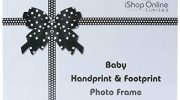iShop Baby Handprint and Footprint Kit MDF Photo Frame Personalised Baby Shower Gifts Christening Gifts for Girls Boys Newborns with Wall Mount and Stand Feature Packed in Beautiful Bow Type Gift Box