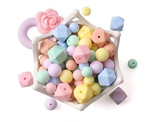 baby tete Baby Silicone Beads Teething Necklaces 102pcs Loose Bead for Sensory Teethers Candy Series Nursing Pacifier Clip Bracelet