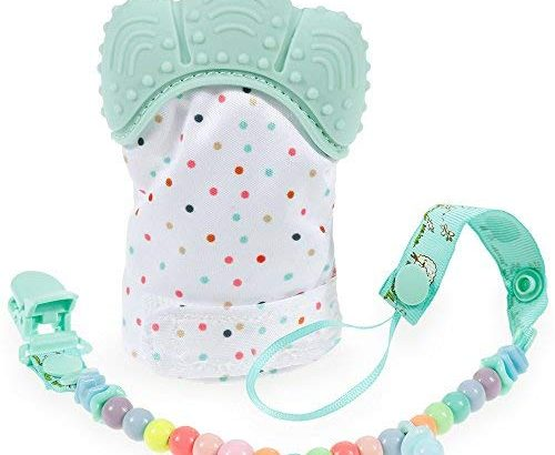 Teething Toy Baby Teething Mitten – Nabance BPA-Free Teething Mitten for Babies and Baby Pacifier Clip, Baby Teether Toys for Soothing Pain