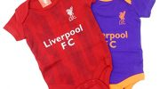 Official Liverpool Football Club New Season Home & Away Kit Twin Pack Bodysuit Baby Grows Size 0-3 Months Blue White