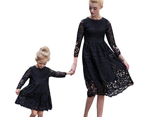 Minetom® Mother and Daughter Matching Lace Mini Dress Casual A Line Mom and I Adult Kids Matching Women Girls Summer Elegant Family Clothes Black UK 16 (Mother)