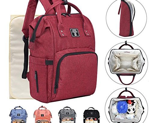 iDxiar Nappy Chaning Rucksack, Baby Change Bag Backpack Waterproof Maternity Mum Dad Travel Bag w Changing Mat, Stroller Hooks (Wine Red)