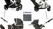 NEW HAUCK DUETT 2 DOUBLE TANDEM TWIN PUSHCHAIR PRAM BUGGY TRAVEL SYSTEM+CARSEAT WITH ADAPTORS