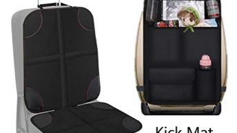 UMJWYJ 1 Set Car Seat Protector&Back Seat Car Organiser,Protects Car Upholstery from Child Seats,Plastic Pockets Size up to 10.5″,5 Pocket Storage Kick Mat Protector, Travel Accessories Organizer
