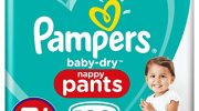Pampers Baby-Dry Nappy Pants Size 5+ , 132 Nappy Pants, Monthly Saving Pack, Easy-On with Air Channels for Up to 12 Hours of Breathable Dryness, 12-17 kg