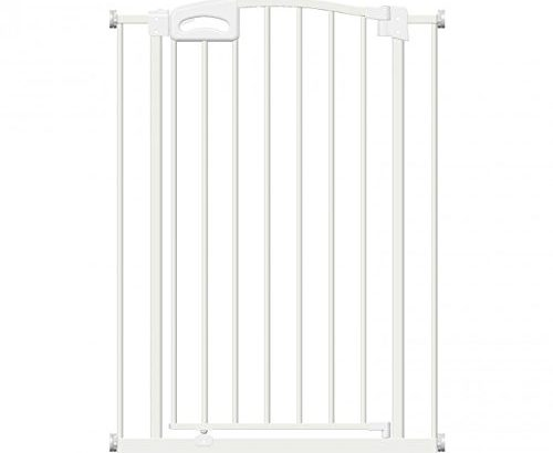 Callowesse Carusi Narrow Baby Gate 63-70cm – Metallic White. Self Closing, Quality Pressure Fitted Stair Gate. No Tools Required. Extendable to 130cm with Optional Extensions Available Separately.