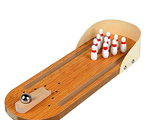 NiceButy Mini Bowling Game Set Indoor Wooden Bowling Game Classic Tabletop Bowling Toy Desk Board Games for Kids and Adults