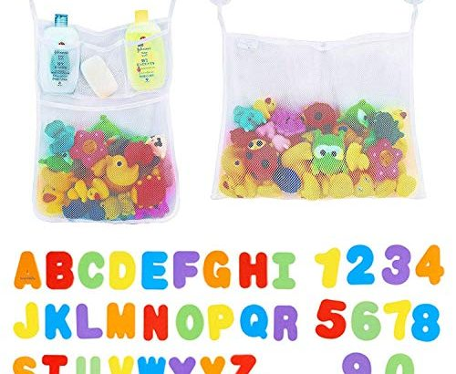 2 x Mesh Bath Toy Storage + 36 Bath Toys Letters and Numbers – Toddlers Large Toy Organiser Net Bag for Baby Boys & Girls and Shower Caddy Bonuses: 6 Ultra Strong Suction Hooks (White)