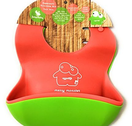 2 Pack of Waterproof Super Soft Silicone Baby Bibs by Jump Baby® Messy Monster (Red/Lime Green). Wipe Clean, Rolll up.