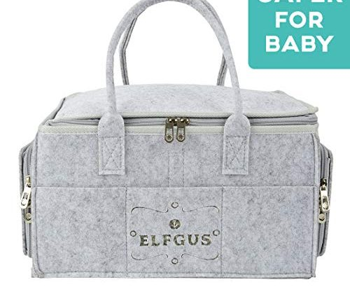 ELFGUS Baby Diaper Caddy, Portable Nappy Changing Organiser, Storage Bin for Baby Essentials for Newborn – Nappy Storage Basket for Baby – Infant Nursery Bag for Shower Gifts