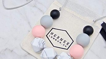 Peach and Grey Silicone Teething Necklace for Mum Handy Breastfeeding Babywearing and Teething Aid New Mum Baby Shower Gift Fiddle Beads BPA Free