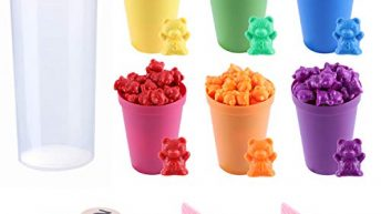Counting Bears Set – 71 Pcs, Rainbow Counting Bears with Matching Sorting Cups Dices and Tweezers – Montessori Rainbow Matching Game – Educational Color Sorting Toys for Toddlers Babies by MYCeator